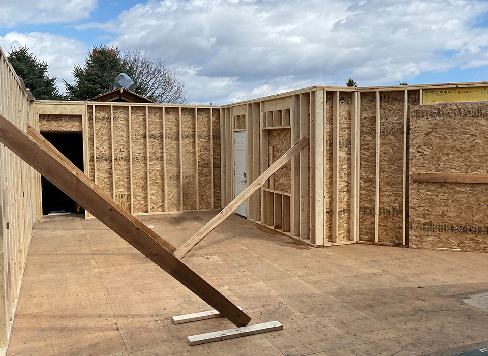framing of house partially built